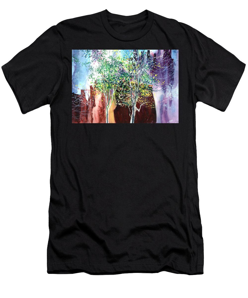 Nature Men's T-Shirt (Athletic Fit) featuring the painting Maya by Anil Nene