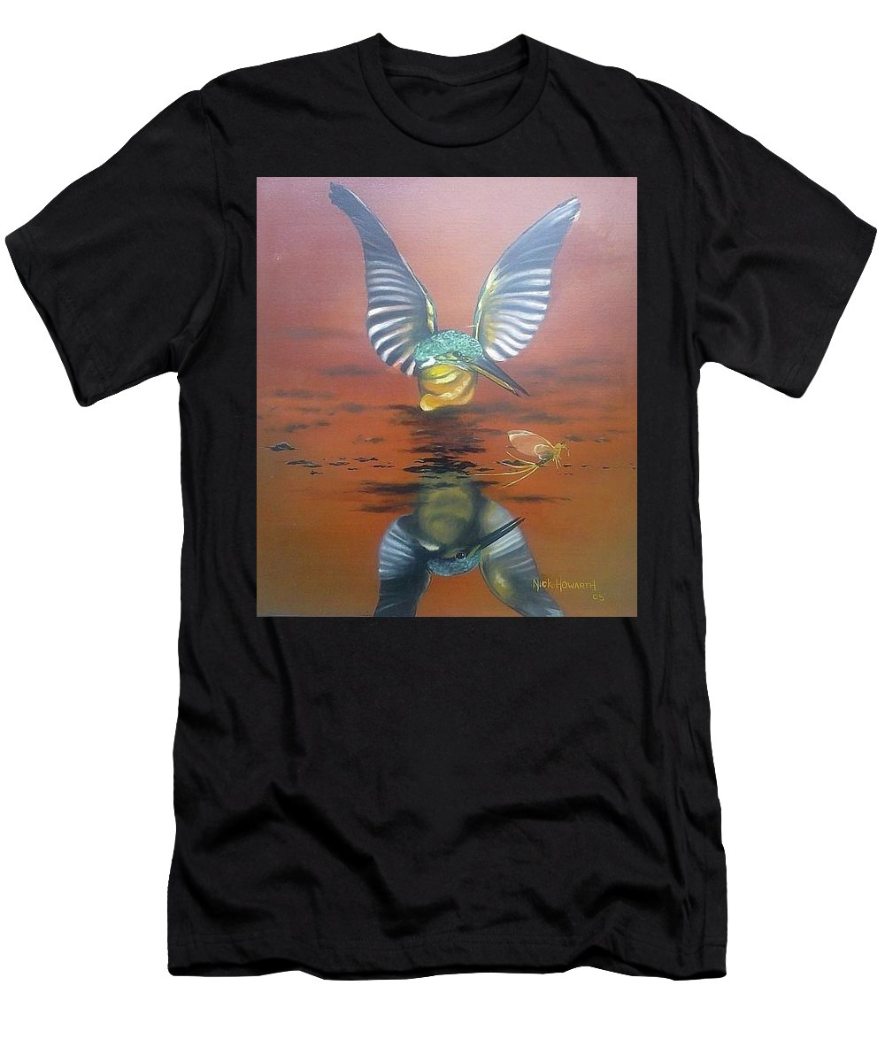 Mayfly Men's T-Shirt (Athletic Fit) featuring the painting Mayfly Season by Nick Howarth