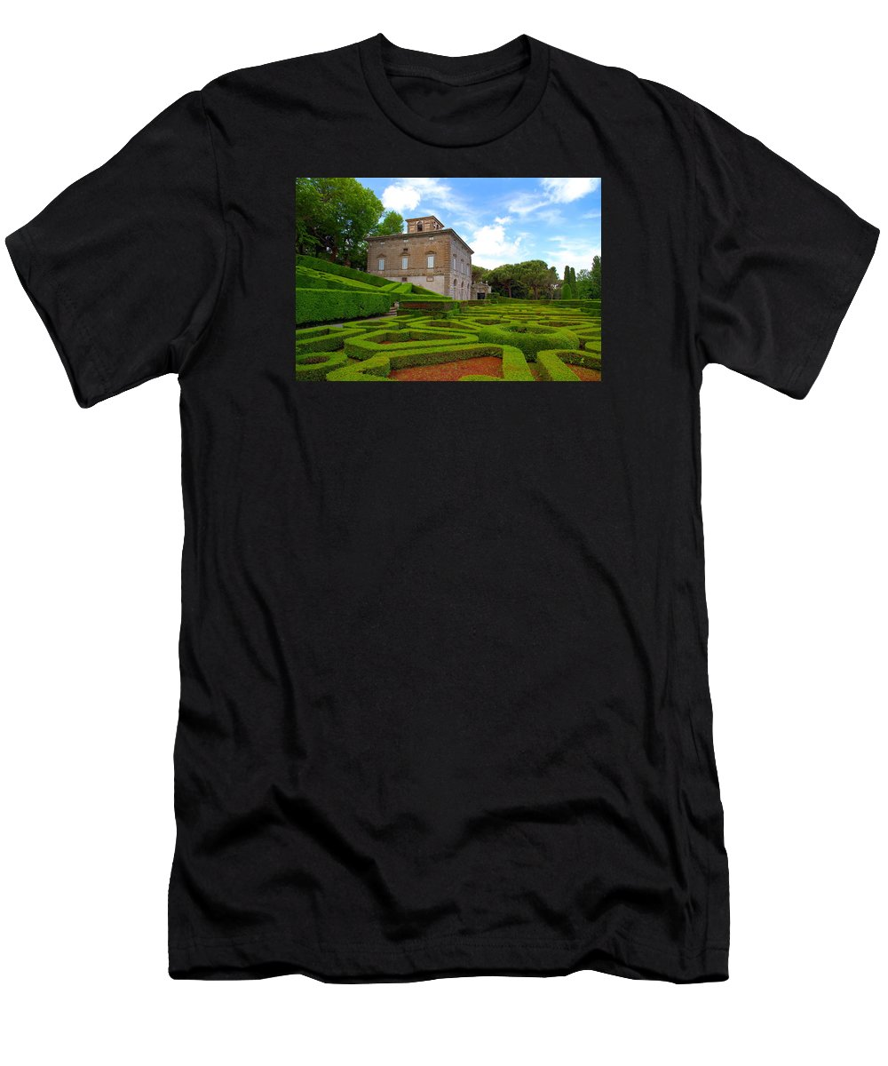 Villa Lante Men's T-Shirt (Athletic Fit) featuring the photograph Mazed Garden by Valentino Visentini