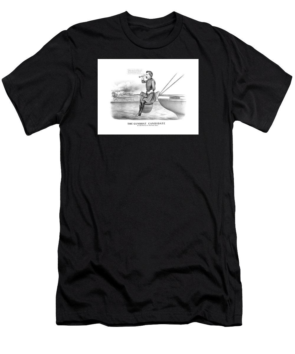 George Mcclellan Men's T-Shirt (Athletic Fit) featuring the drawing Mcclellan The Gunboat Candidate by War Is Hell Store