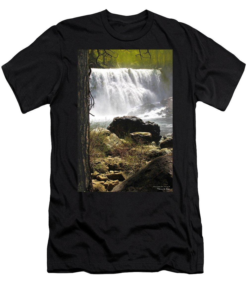 Landscape Men's T-Shirt (Athletic Fit) featuring the photograph Mccloud Middle Falls by Karen W Meyer