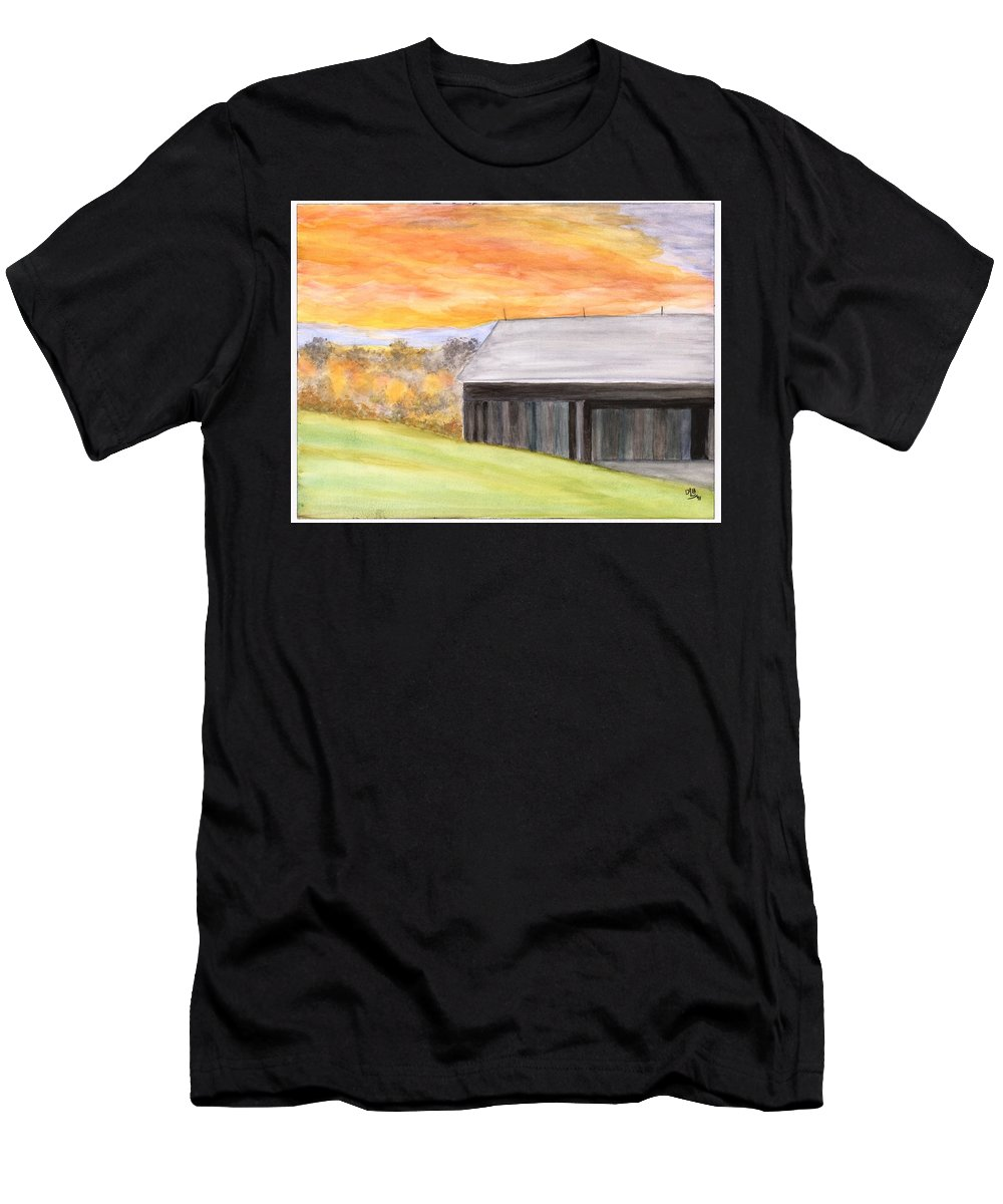 Farm Men's T-Shirt (Athletic Fit) featuring the painting Mccready Farm by David Bartsch