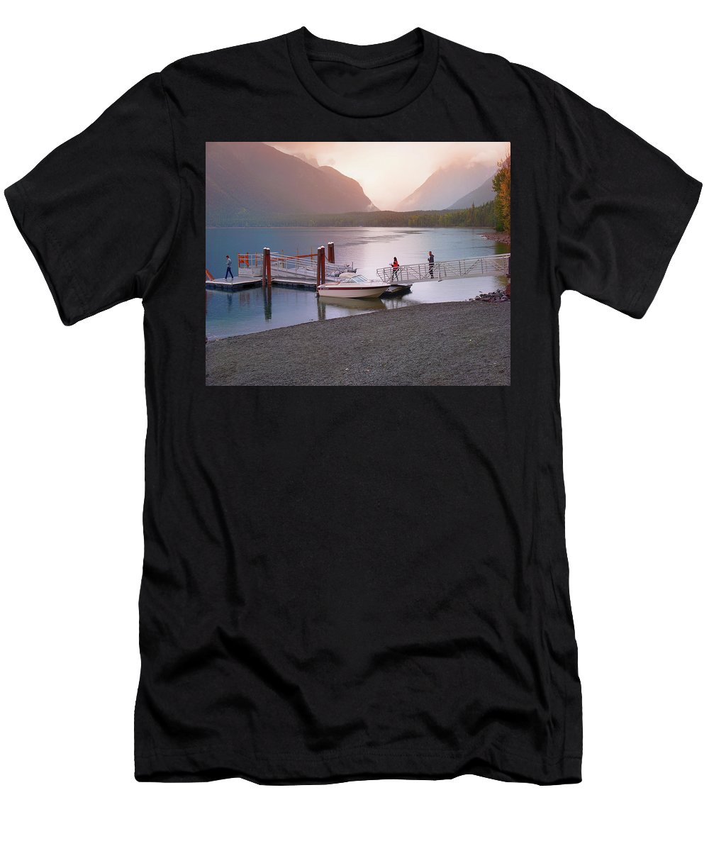 Lake Men's T-Shirt (Athletic Fit) featuring the photograph Mcdonald Lake At Dusk by Darrell Mcgahhey