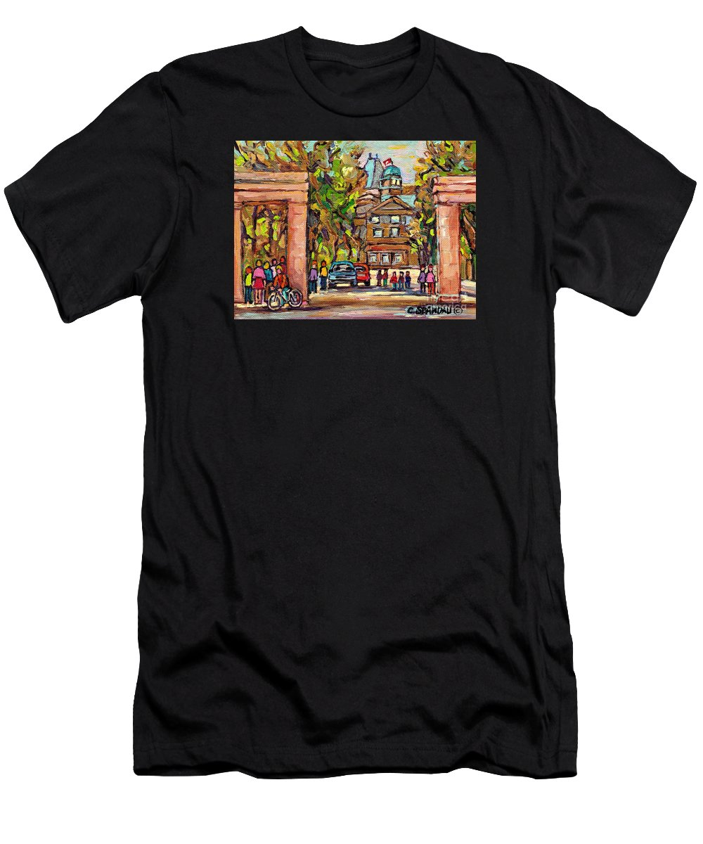 Mcgill University T-Shirt featuring the painting Mcgill Gates Entrance Of Mcgill University Montreal Quebec Original Oil Painting Carole Spandau by Carole Spandau