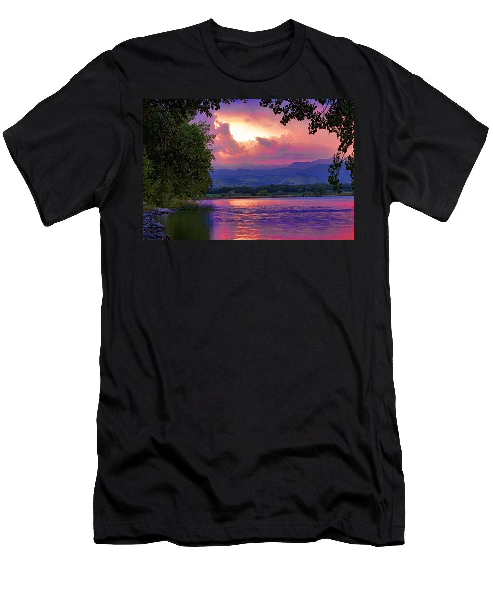 Sunsets Men's T-Shirt (Athletic Fit) featuring the photograph Mcintosh Lake Sunset by James BO Insogna