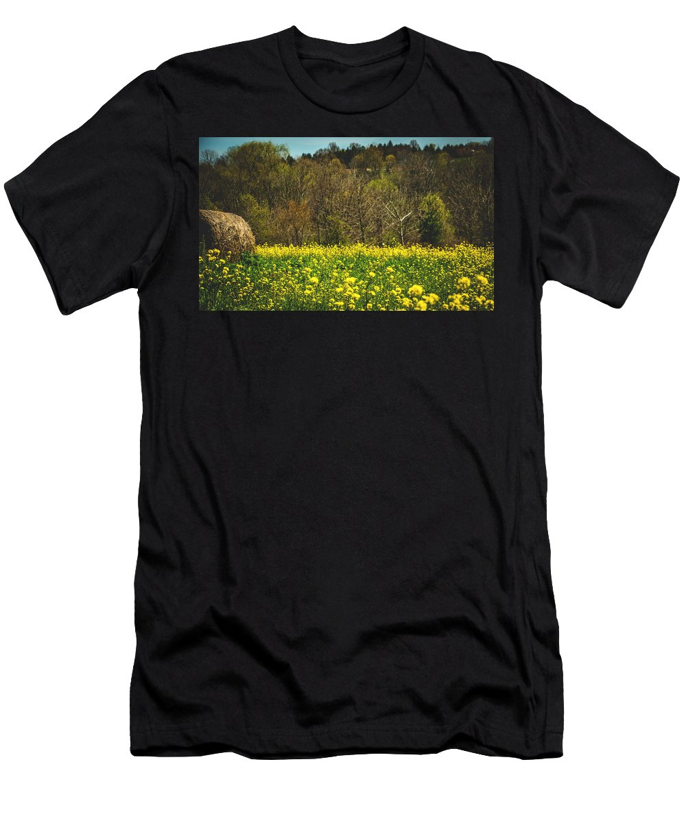 Hay Men's T-Shirt (Athletic Fit) featuring the photograph Golden Hay by Howard Roberts