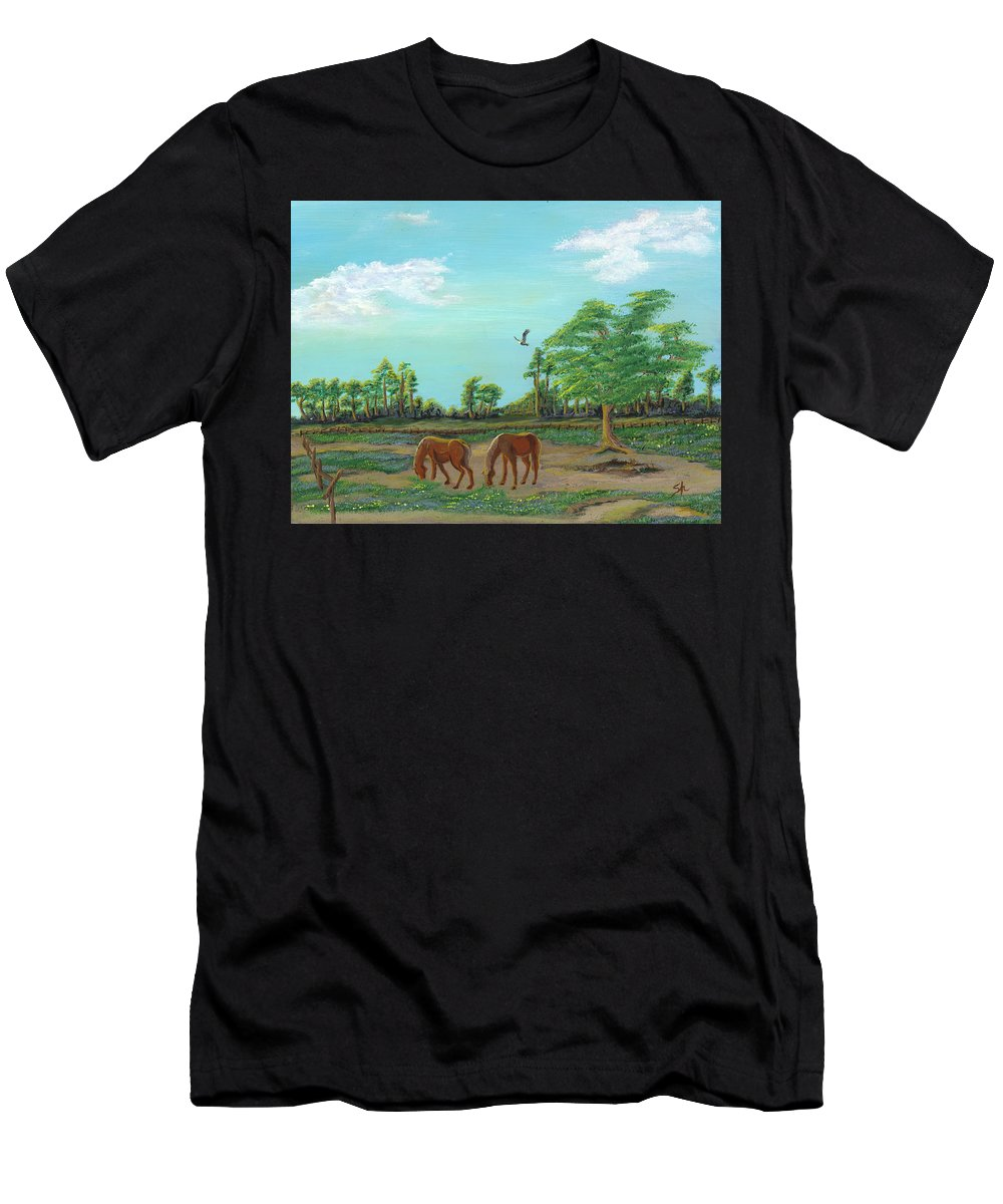 Acrylic Men's T-Shirt (Athletic Fit) featuring the painting Meandering Mares by Sandra Hall