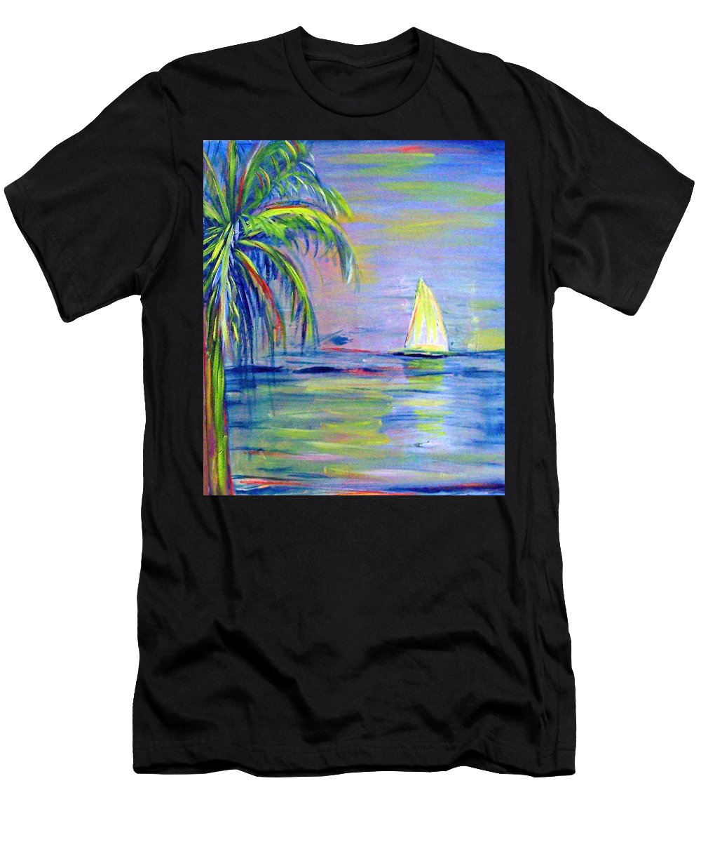 Seascape Men's T-Shirt (Athletic Fit) featuring the painting Meandering by Patricia Taylor