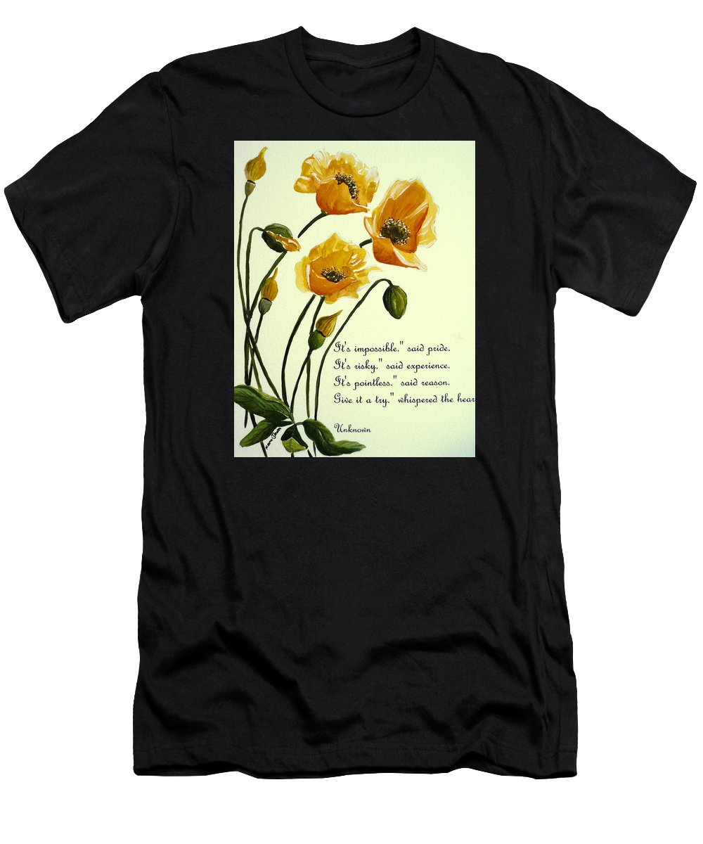 Yellow Meconopsis Men's T-Shirt (Athletic Fit) featuring the painting Meconopsis Poem by Karin Dawn Kelshall- Best