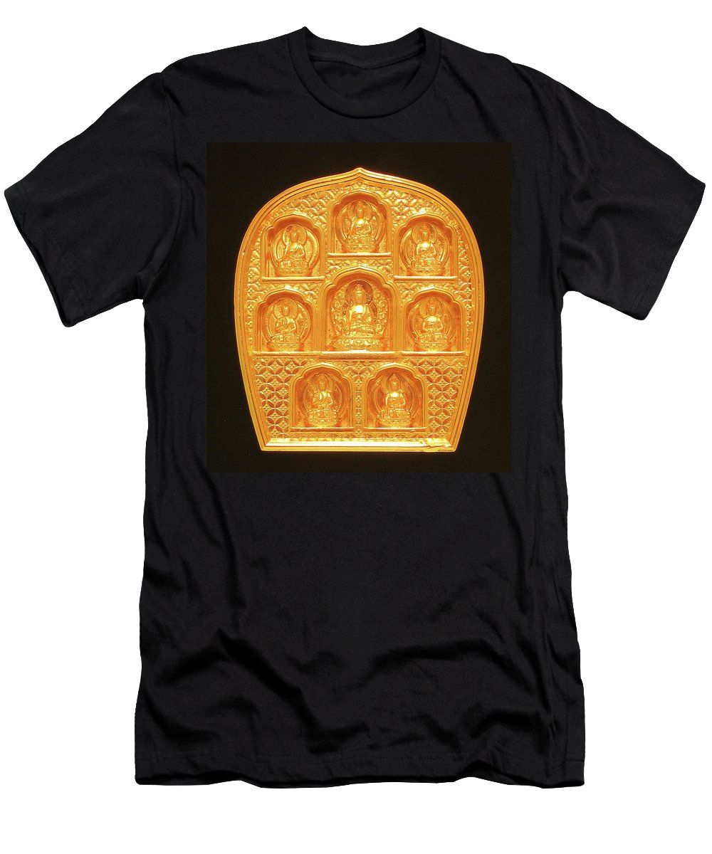 Buddha Men's T-Shirt (Athletic Fit) featuring the sculpture Medicine Buddha Tsatsa by Martin Walker-Watson Gilding Arts Studio
