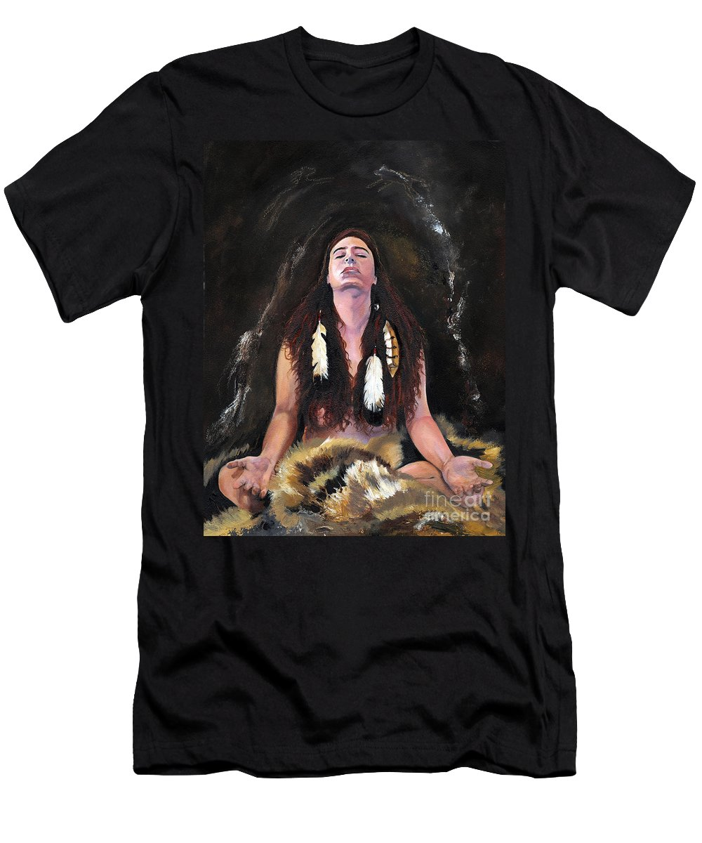 Southwest Art Men's T-Shirt (Athletic Fit) featuring the painting Medicine Woman by J W Baker
