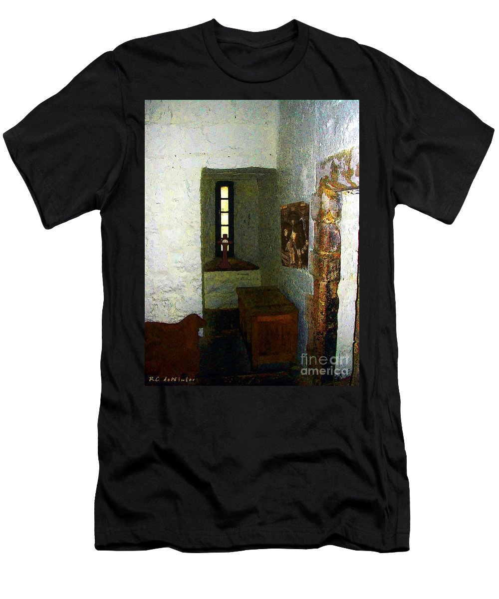 Medieval Men's T-Shirt (Athletic Fit) featuring the painting Medieval Monastic Cell by RC DeWinter