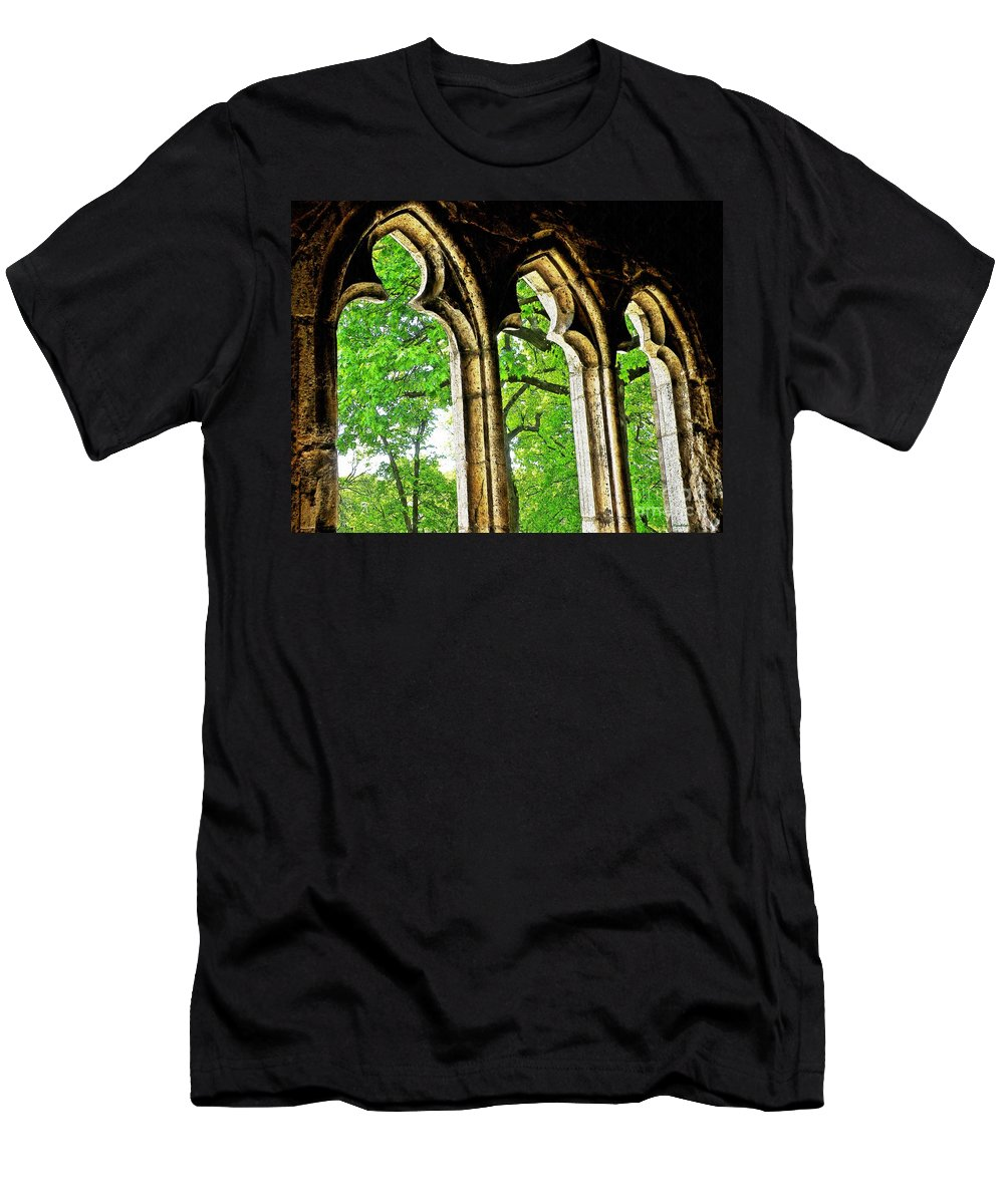 Tree Men's T-Shirt (Athletic Fit) featuring the photograph Medieval Triptych by Sarah Loft
