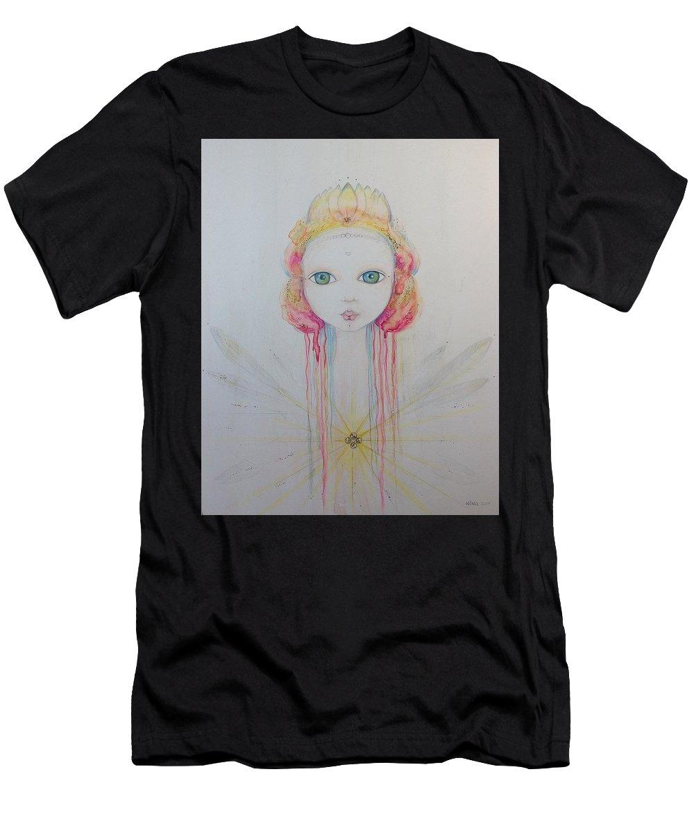 Fairy Men's T-Shirt (Athletic Fit) featuring the mixed media Meditation by Nino Gabashvili