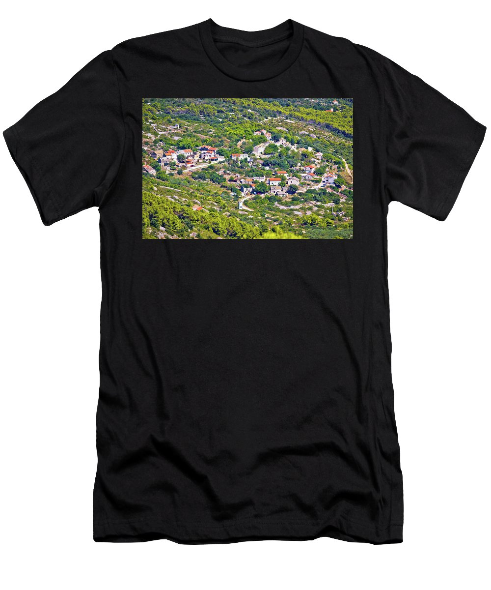 Vis Men's T-Shirt (Athletic Fit) featuring the photograph Mediterranean Village On Island Of Vis by Brch Photography