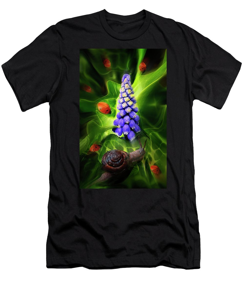 Ladybug Men's T-Shirt (Athletic Fit) featuring the digital art Meet Me At The Hyacinth by John Christopher
