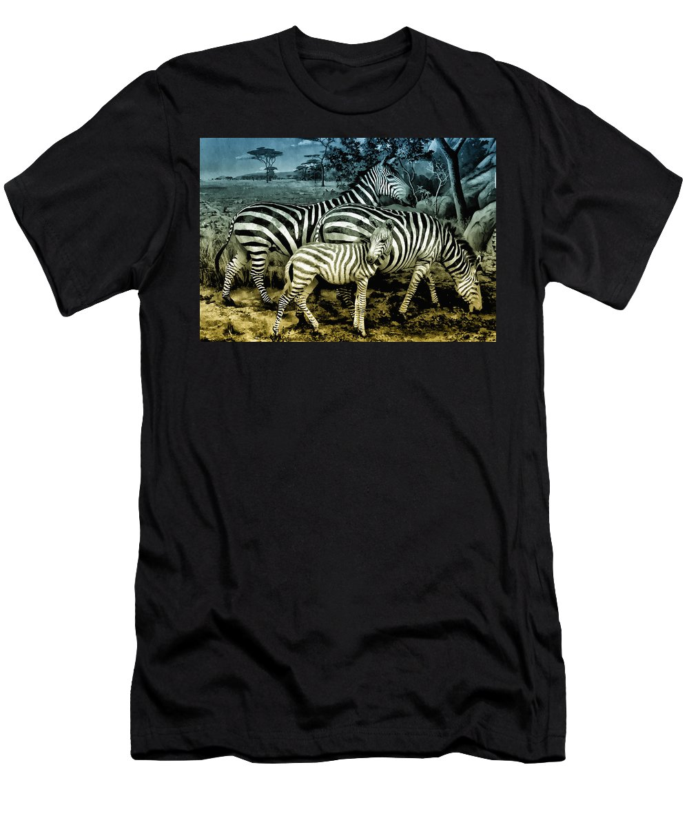 Zebra Men's T-Shirt (Athletic Fit) featuring the photograph Meet The Zebras by Bill Cannon