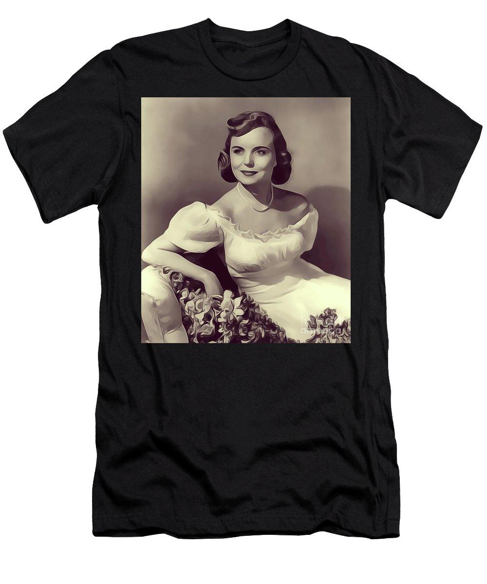 Meg Men's T-Shirt (Athletic Fit) featuring the digital art Meg Randall, Vintage Actress by John Springfield
