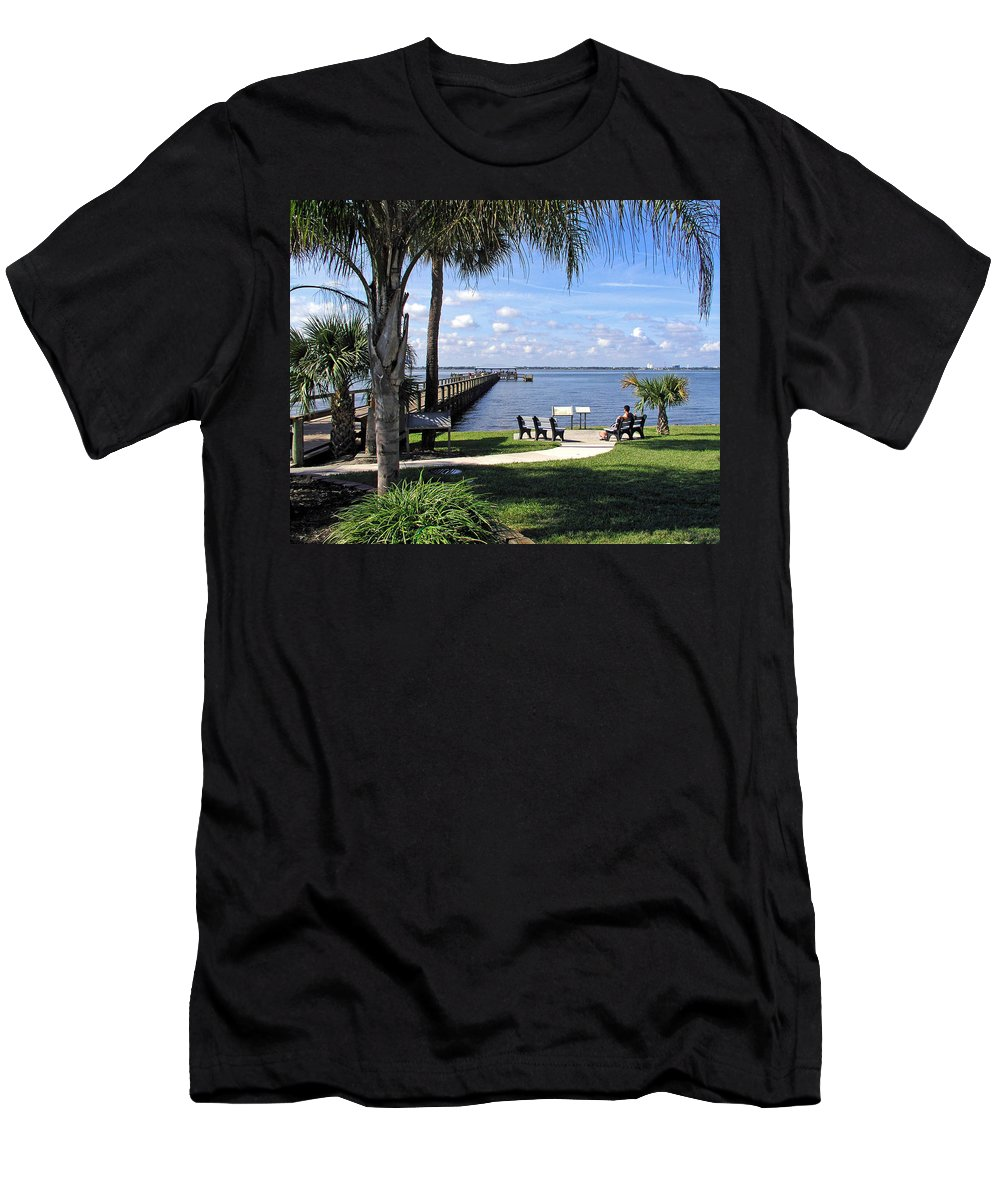 Melbourne; Beach; Pier; Florida; Peaceful; Peace; Indian; River; South; Scene; Scenery; South; South Men's T-Shirt (Athletic Fit) featuring the photograph Melbourne Beach Pier In Florida by Allan Hughes