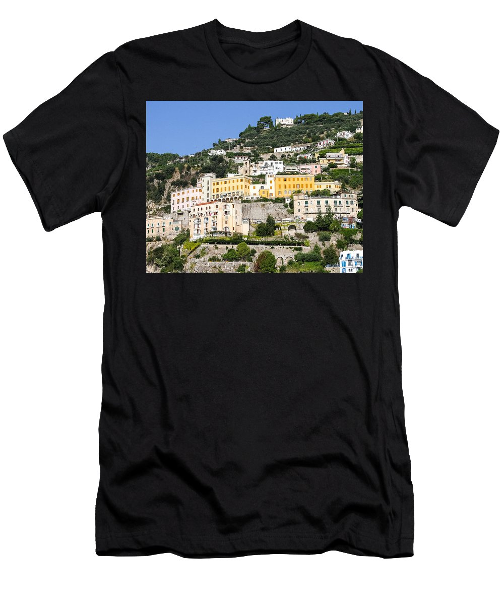 Almafi Coast Men's T-Shirt (Athletic Fit) featuring the photograph Mellow Yellow Buildings by Allan Levin
