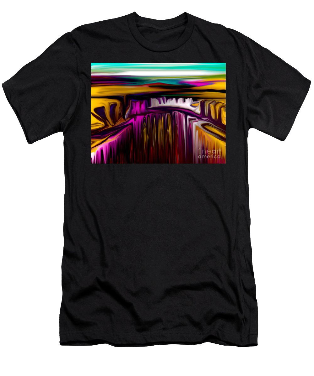 Abstract Men's T-Shirt (Athletic Fit) featuring the digital art Melting by David Lane