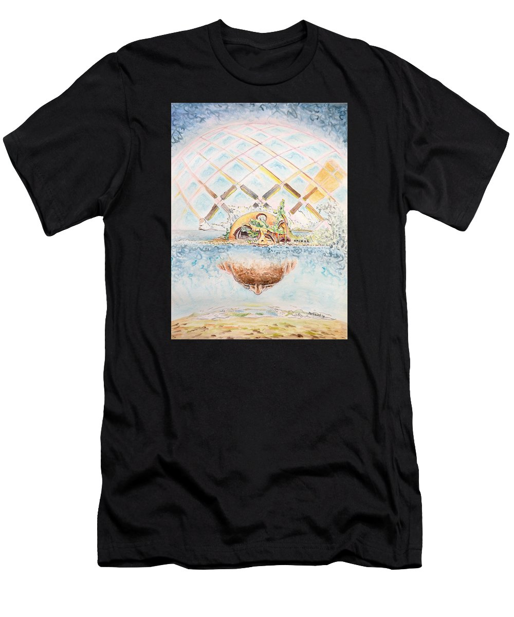 Watercolor Men's T-Shirt (Athletic Fit) featuring the painting Meme Brain by Dave Martsolf