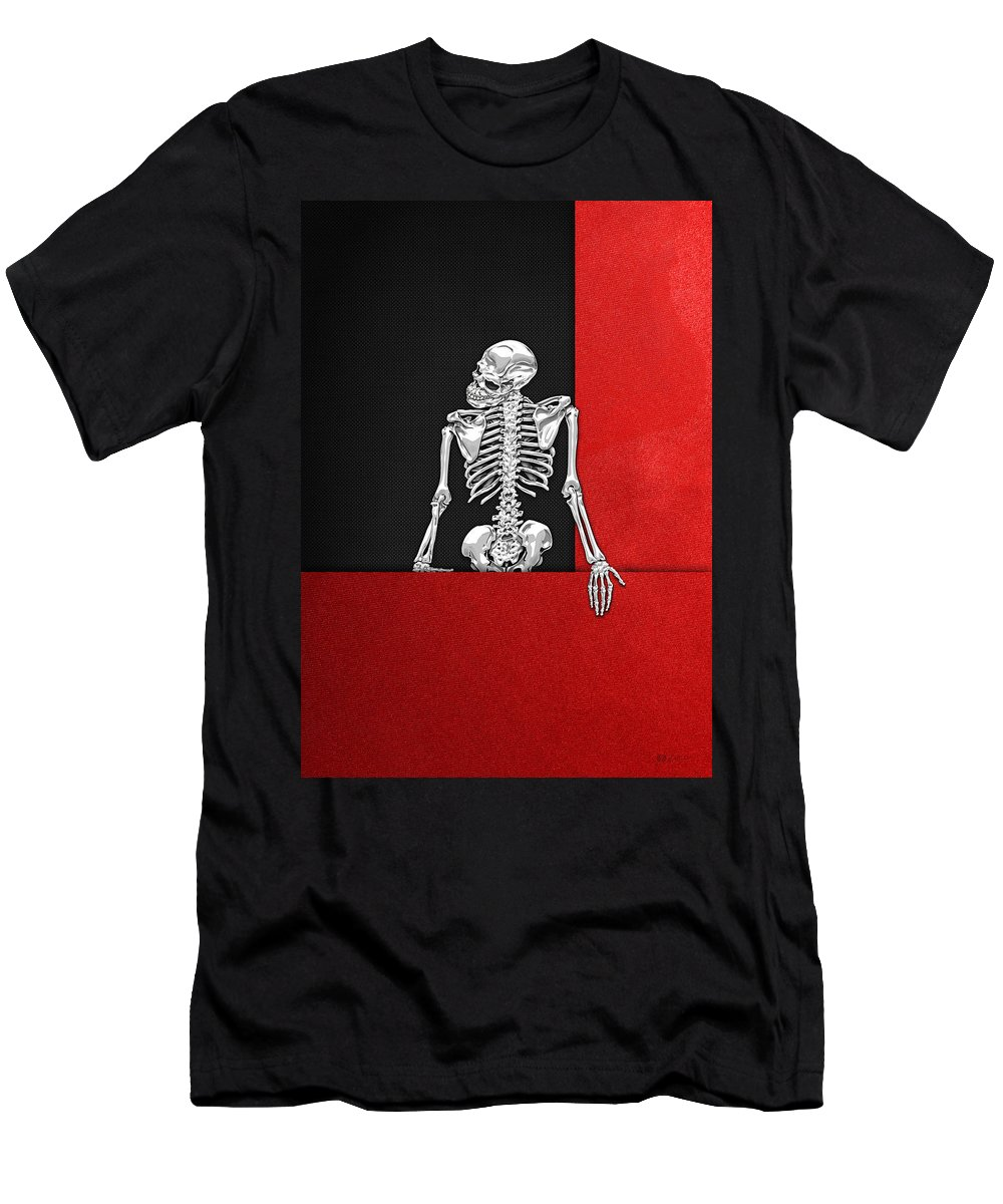 Visual Art Pop By Serge Averbukh T-Shirt featuring the photograph Memento Mori - Skeleton On Red And Black by Serge Averbukh
