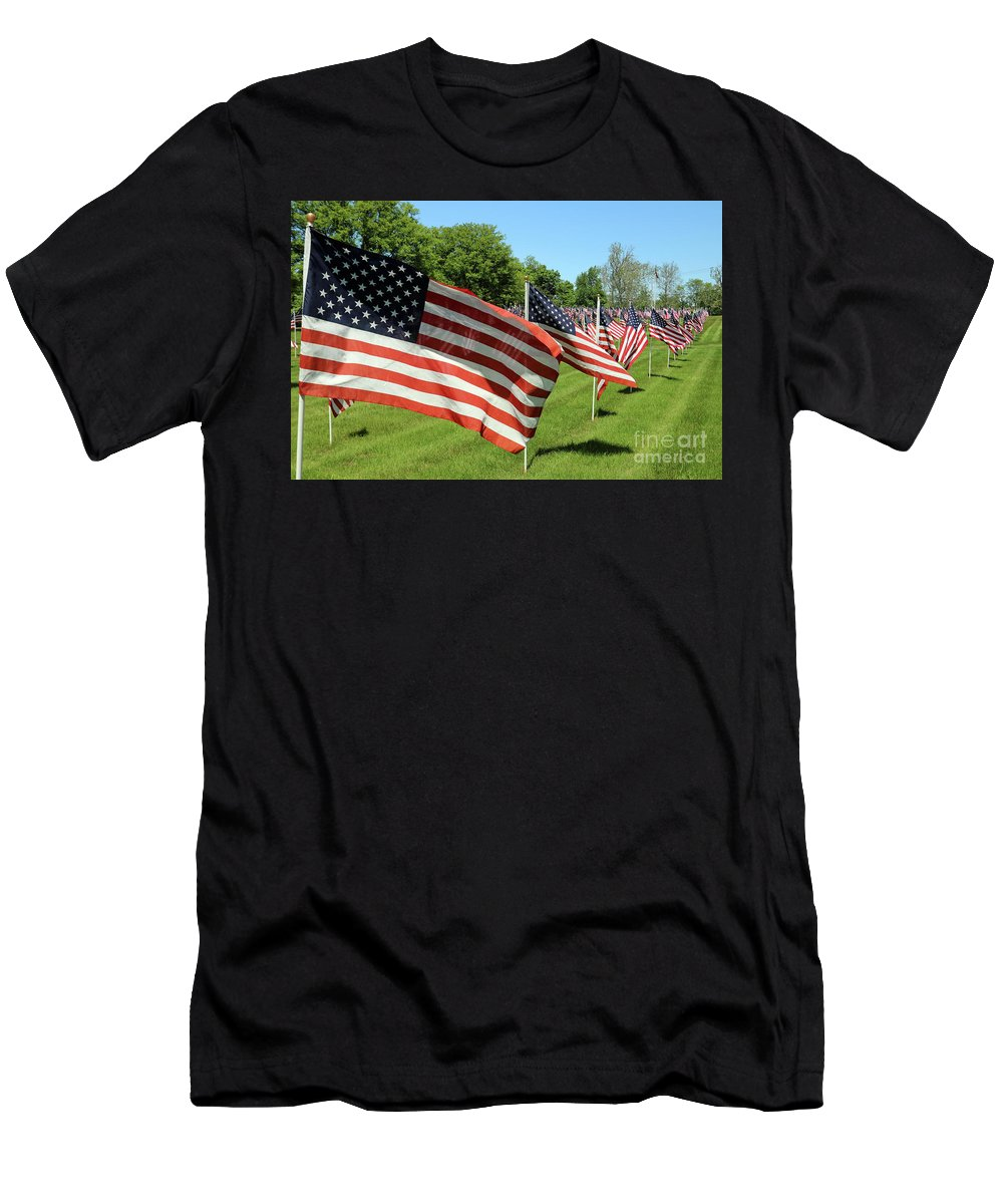 Flags Men's T-Shirt (Athletic Fit) featuring the photograph Memorial Day Tribute by Steve Gass