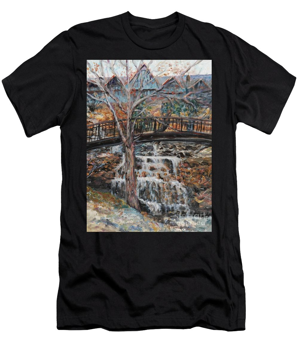 Waterfalls Men's T-Shirt (Athletic Fit) featuring the painting Memories by Nadine Rippelmeyer