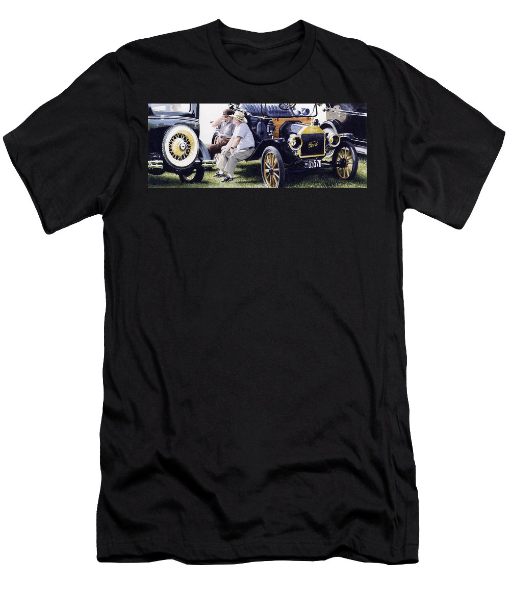 Antique Cars Men's T-Shirt (Athletic Fit) featuring the painting Men And Their Toys by Denny Bond