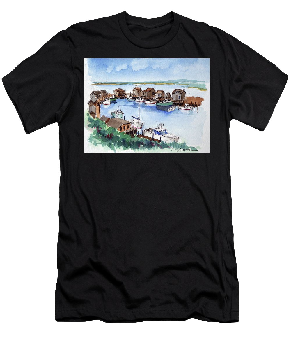 Marine Men's T-Shirt (Athletic Fit) featuring the painting Menemsha Safe Haven by John Crowther