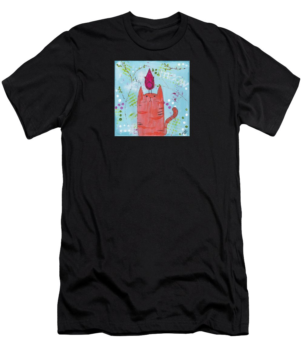 Whimsical Men's T-Shirt (Athletic Fit) featuring the painting Meow Song by Sandy Burch