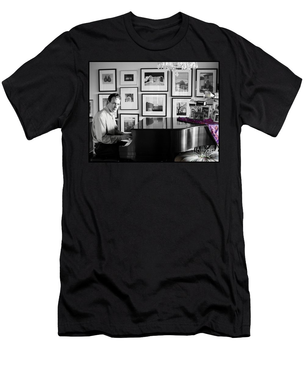 Piano Playing Men's T-Shirt (Athletic Fit) featuring the photograph Mephistos Waltz by Madeline Ellis