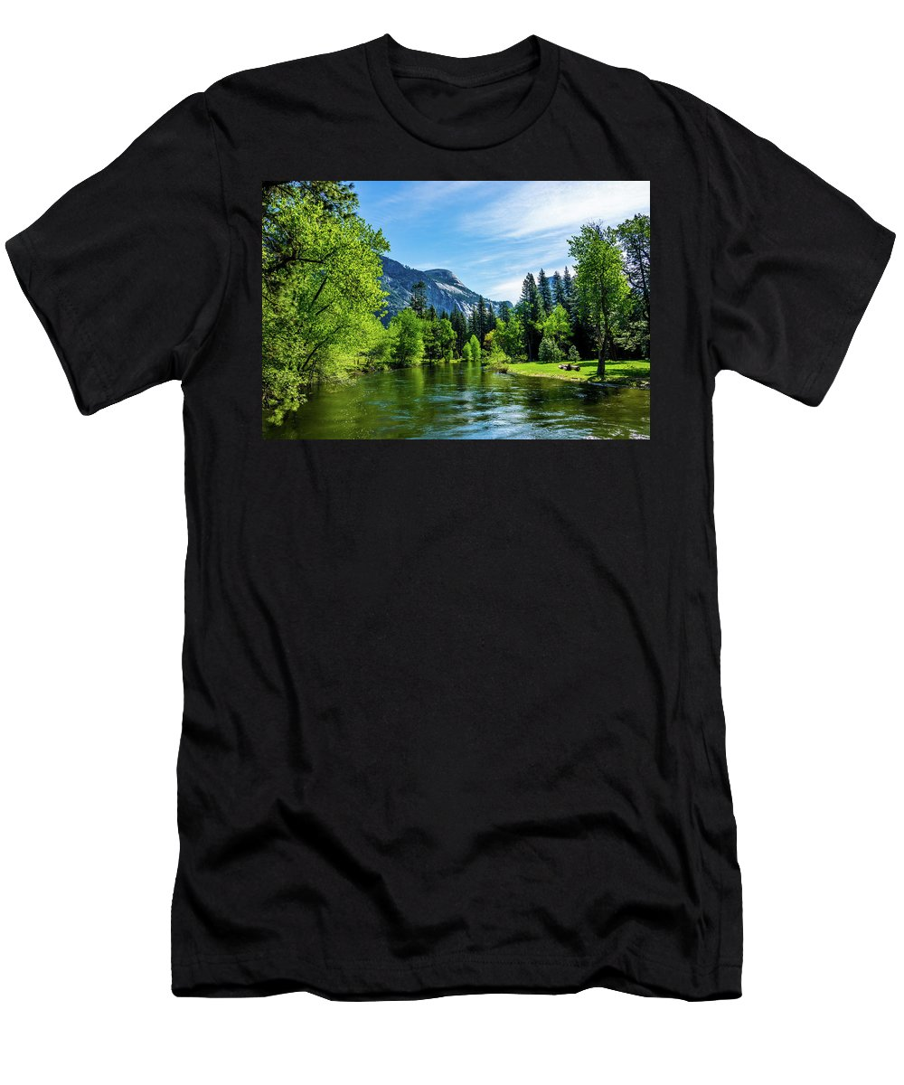 California Men's T-Shirt (Athletic Fit) featuring the photograph Merced River In Yosemite Valley by Randy Herring