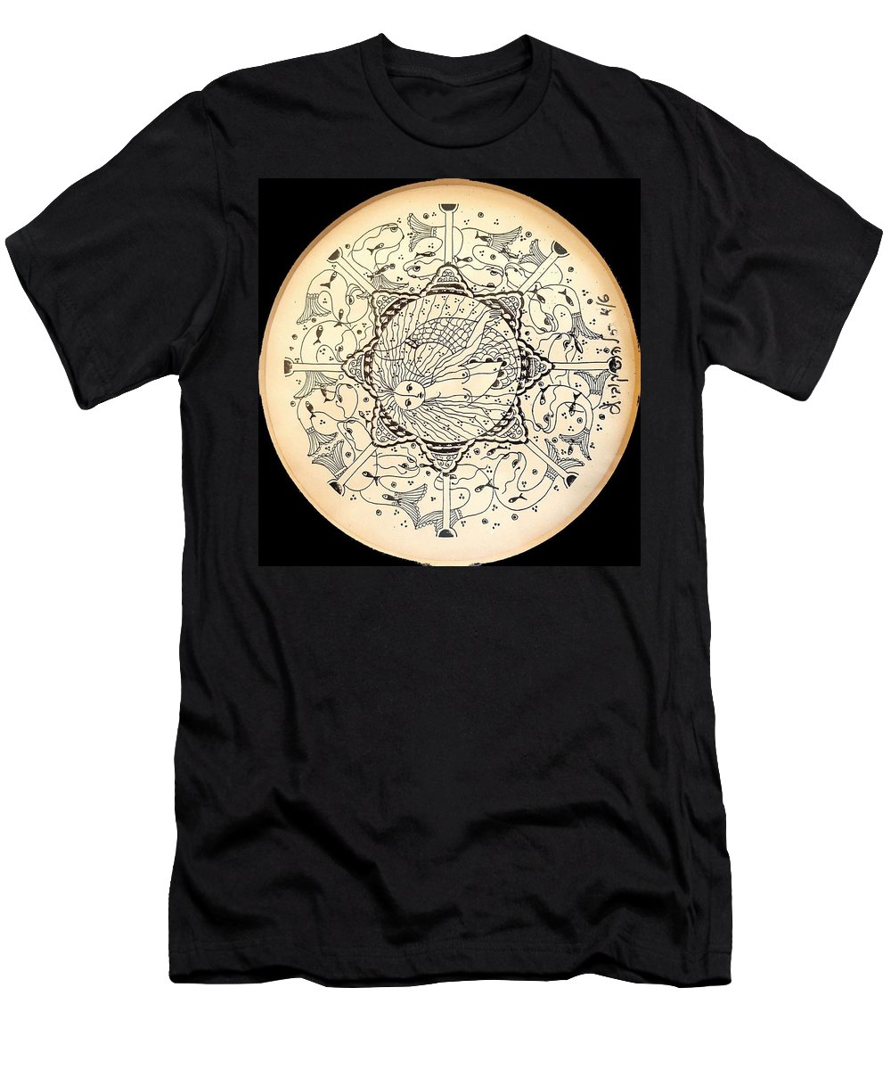 Mermid Men's T-Shirt (Athletic Fit) featuring the drawing Mermaid-2 by Rachel Hershkovitz