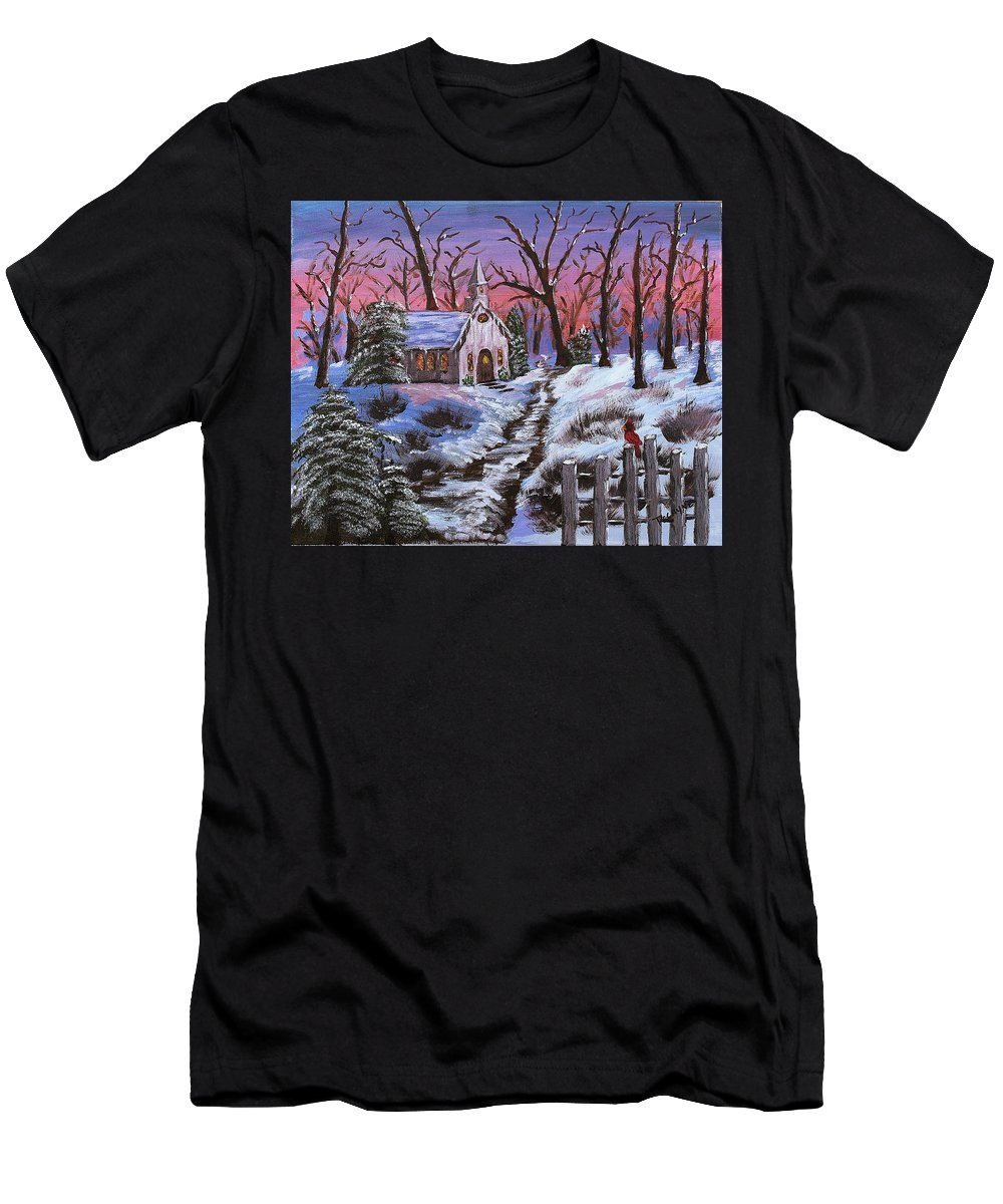 Christmas Men's T-Shirt (Athletic Fit) featuring the painting Merry Christmas by Margaret G Calenda