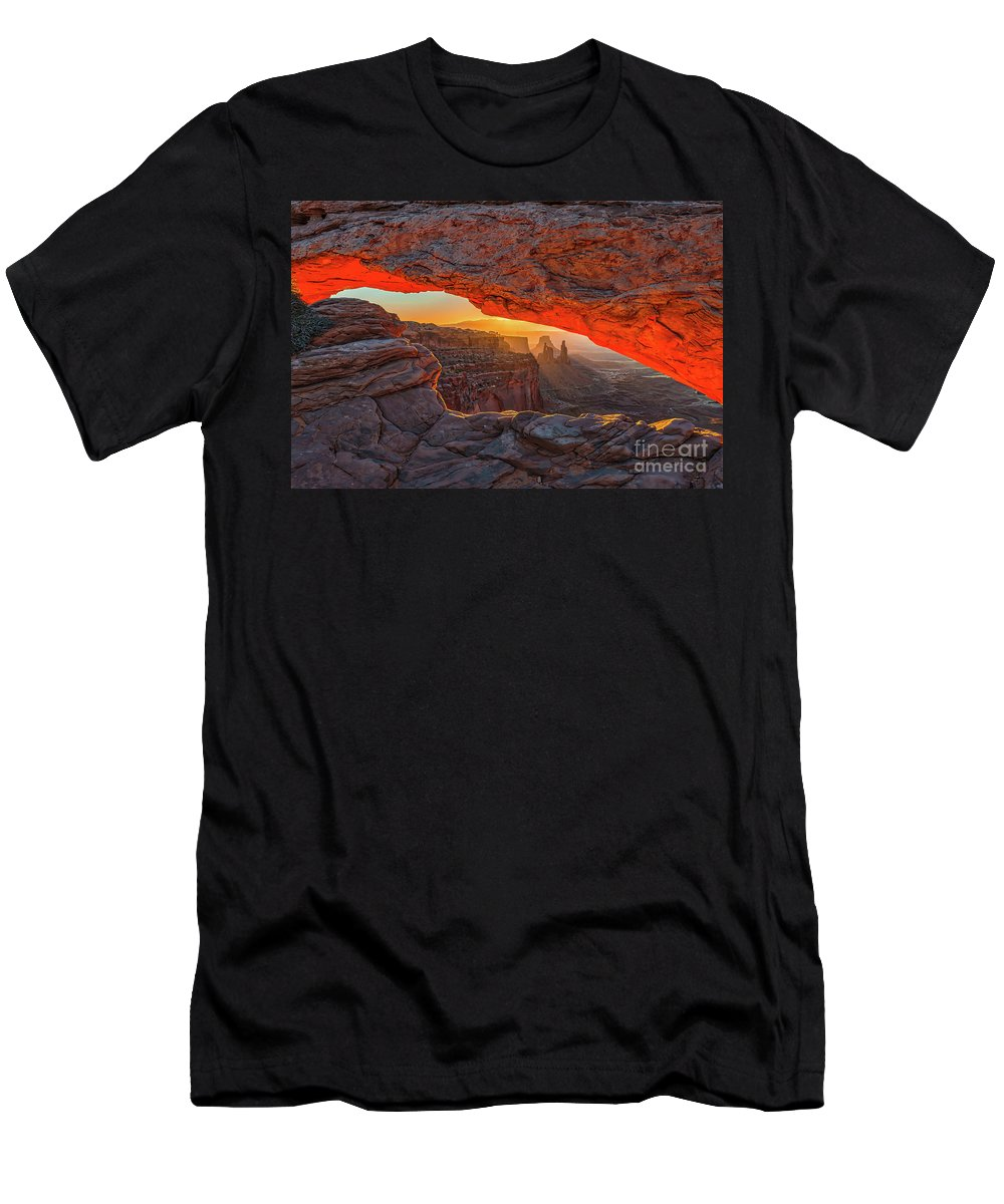 Mesa Arch Men's T-Shirt (Athletic Fit) featuring the photograph Mesa Arch Sunrises Glow by Tod and Cynthia Grubbs