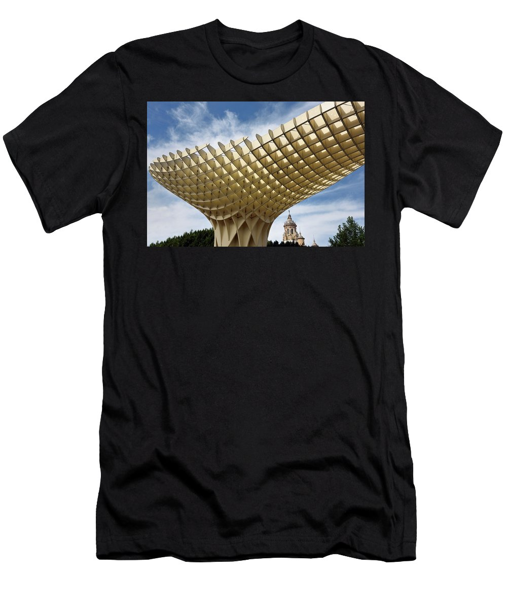 Metropol Men's T-Shirt (Athletic Fit) featuring the photograph Metropol Parasol At The Plaza Of The Incarnation In Seville Spai by Reimar Gaertner