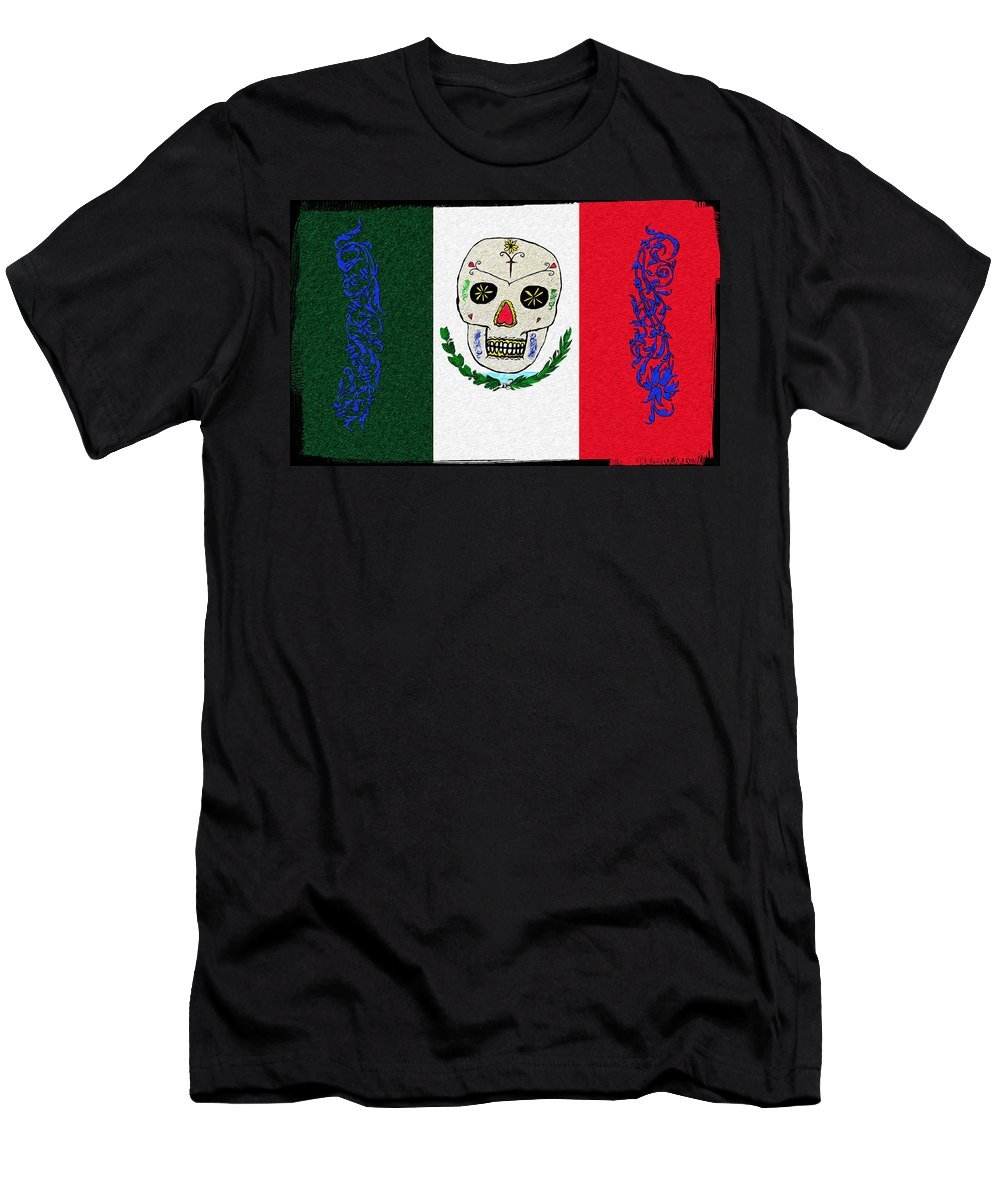 Mexican Flag Of The Dead Men's T-Shirt (Athletic Fit) featuring the digital art Mexican Flag Of The Dead by Bill Cannon