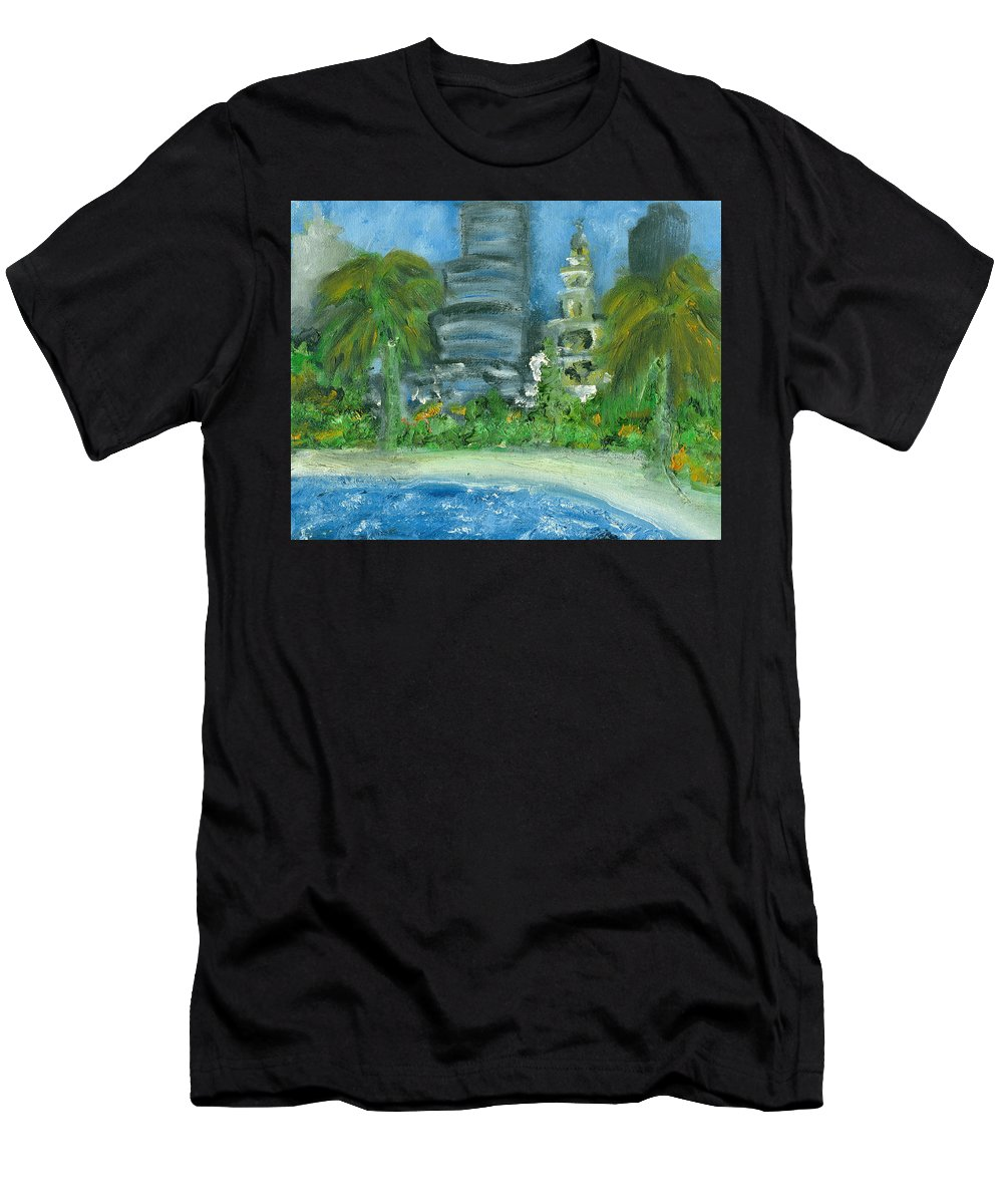 Miami Men's T-Shirt (Athletic Fit) featuring the painting Mi Miami by Jorge Delara