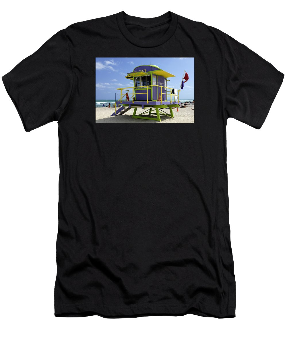 Miami Beach Men's T-Shirt (Athletic Fit) featuring the photograph Miami Beach by Bob Christopher