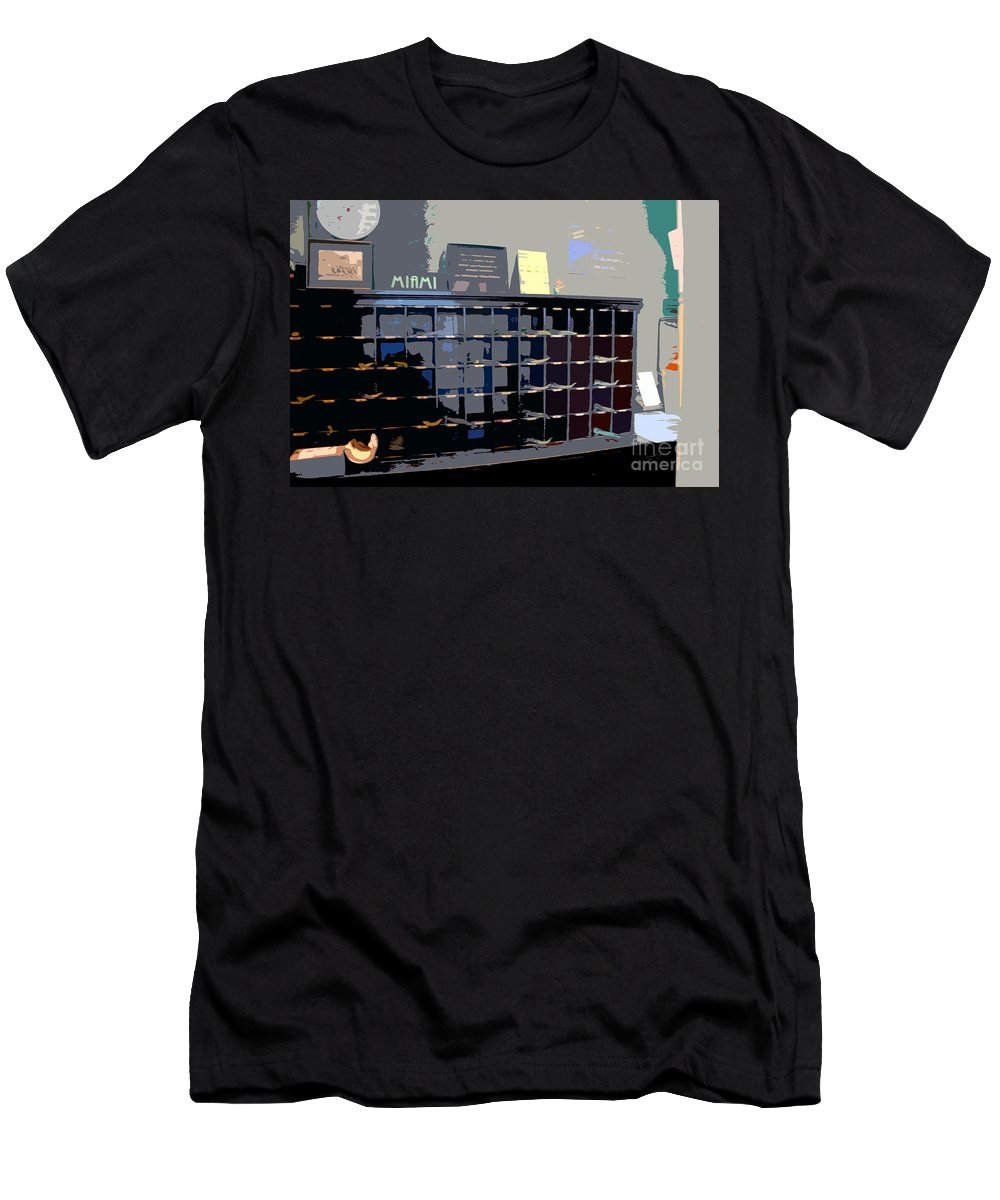 Miami Beach Florida Men's T-Shirt (Athletic Fit) featuring the photograph Miami Beach Hotel Key Slots by David Lee Thompson