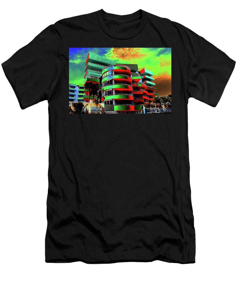 Art Deco Architecture Men's T-Shirt (Athletic Fit) featuring the painting Miami by David Lee Thompson