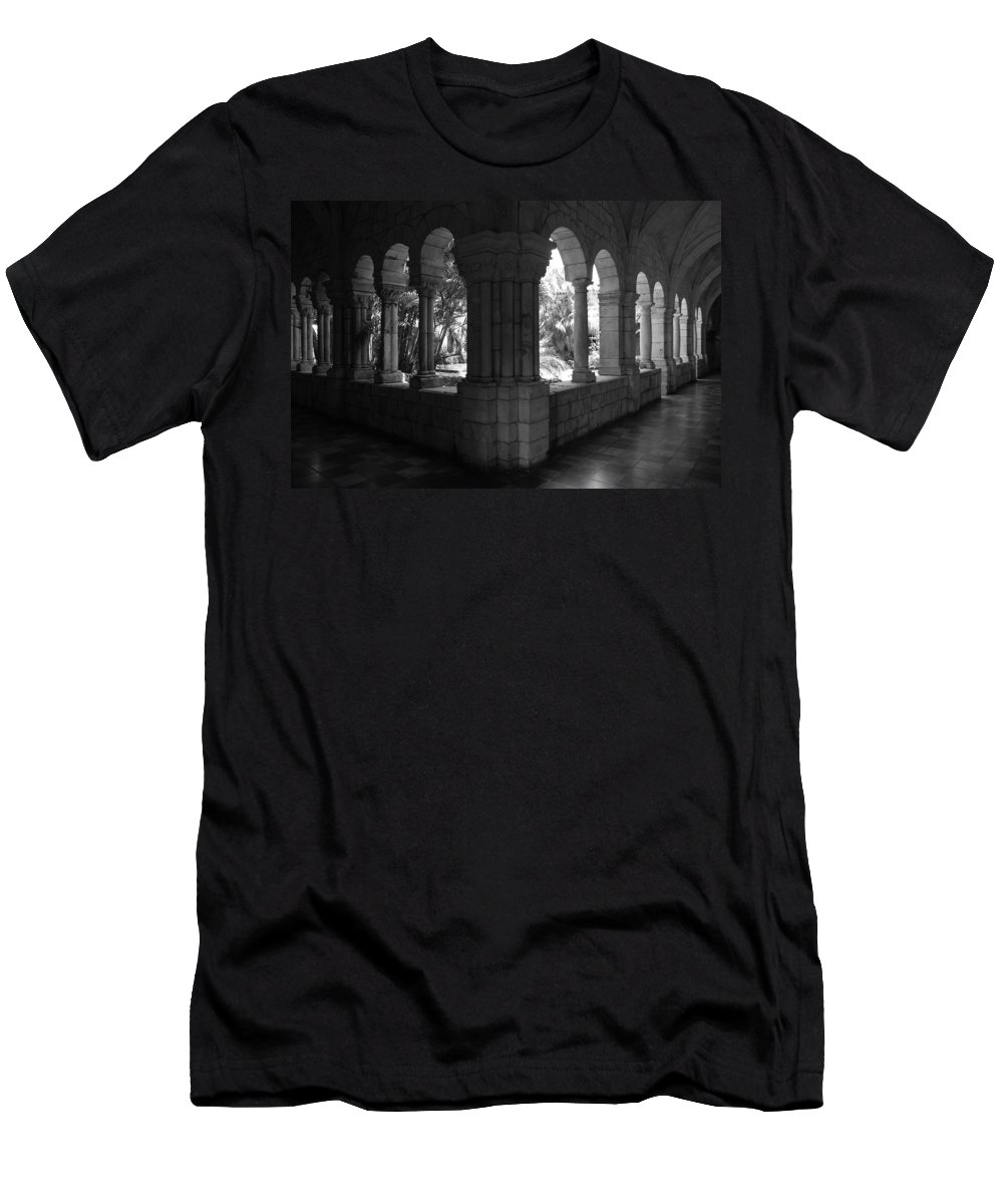 Black And White Men's T-Shirt (Athletic Fit) featuring the photograph Miami Monastery In Black And White by Rob Hans