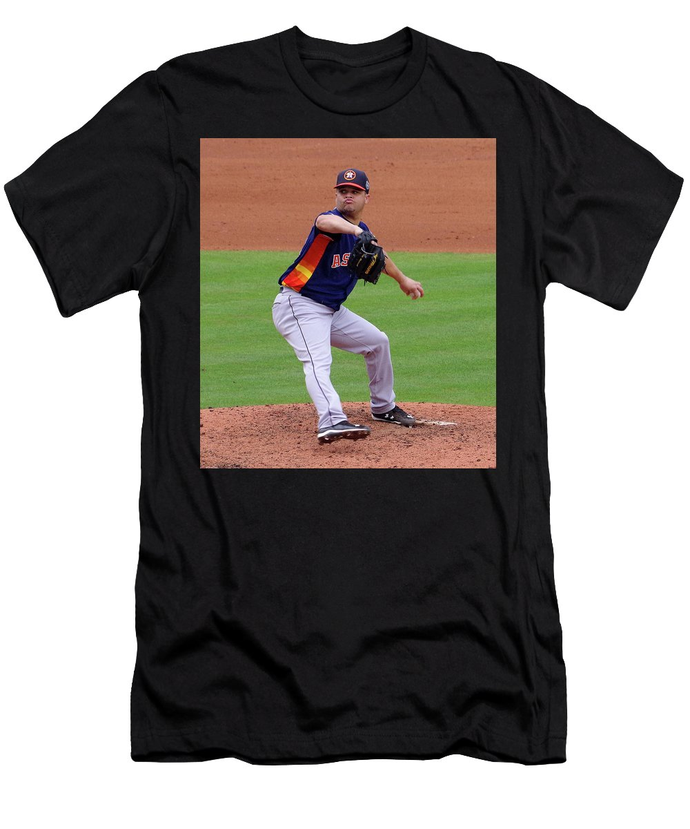 Michael Feliz Men's T-Shirt (Athletic Fit) featuring the photograph Michael Feliz Houston Astro Pitcher by Bruce Roker
