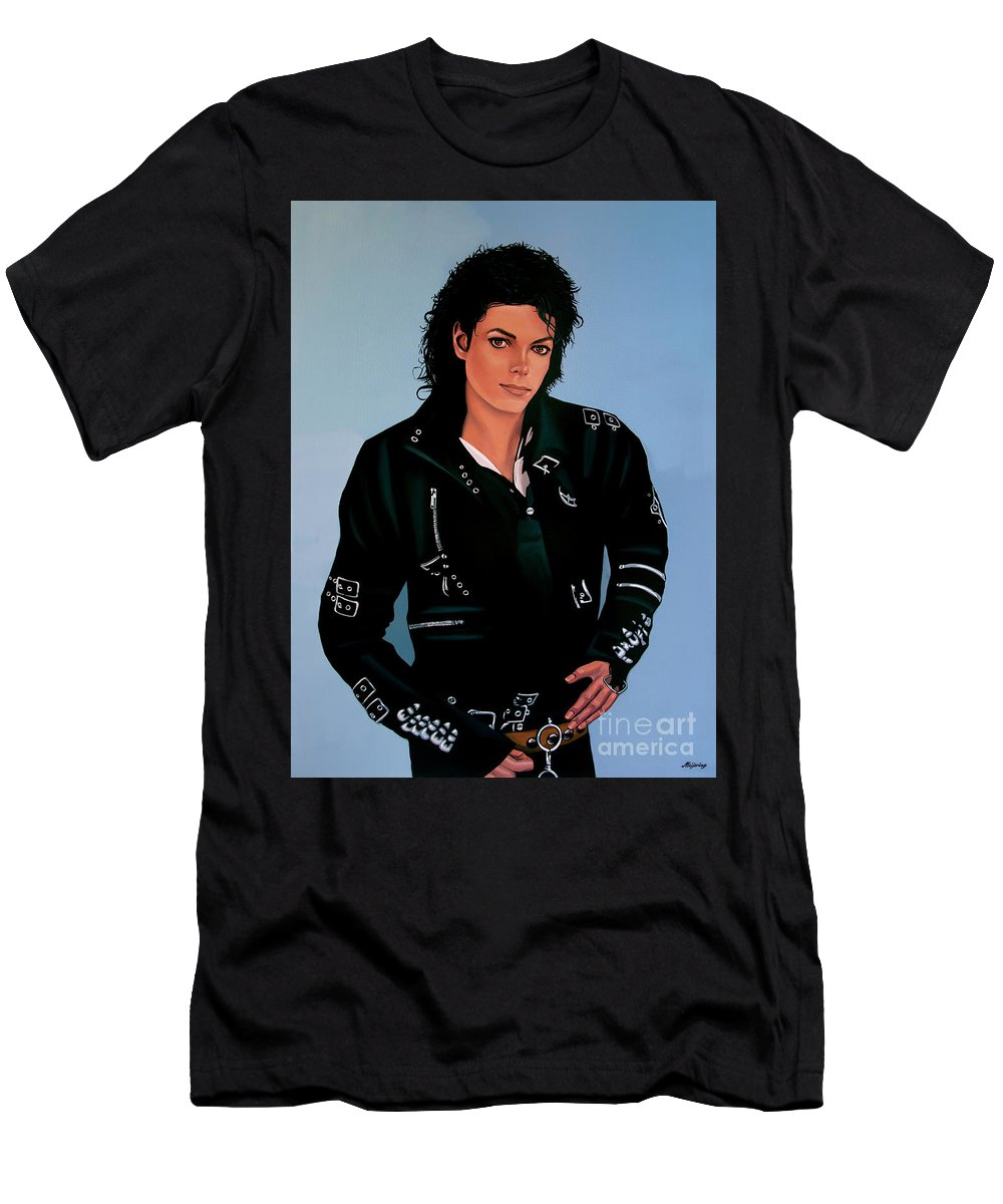 Michael Jackson T-Shirt featuring the painting Michael Jackson Bad by Paul Meijering