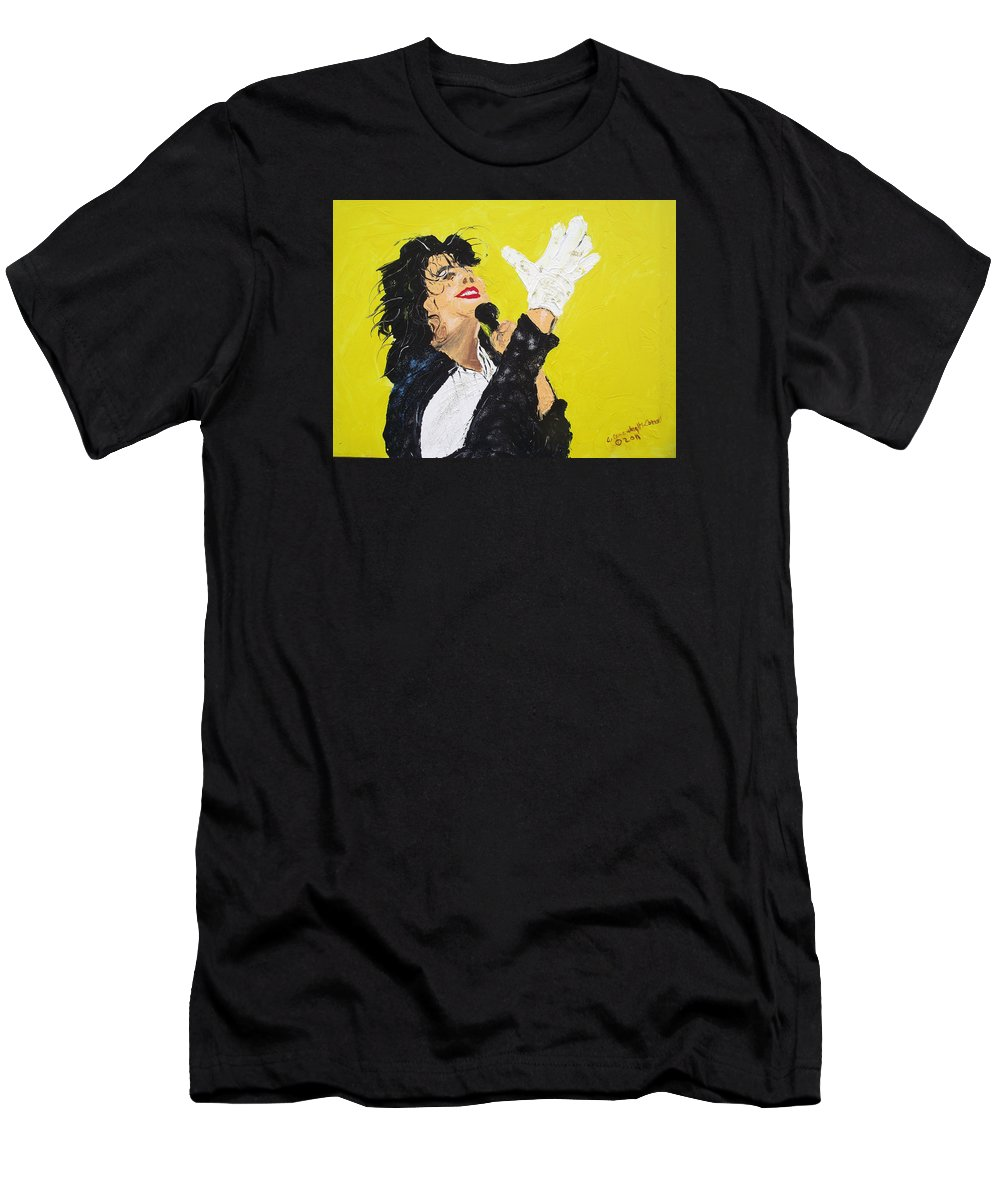 Michael Jackson Men's T-Shirt (Athletic Fit) featuring the painting Michael Jackson The Hand by Arlene Wright-Correll