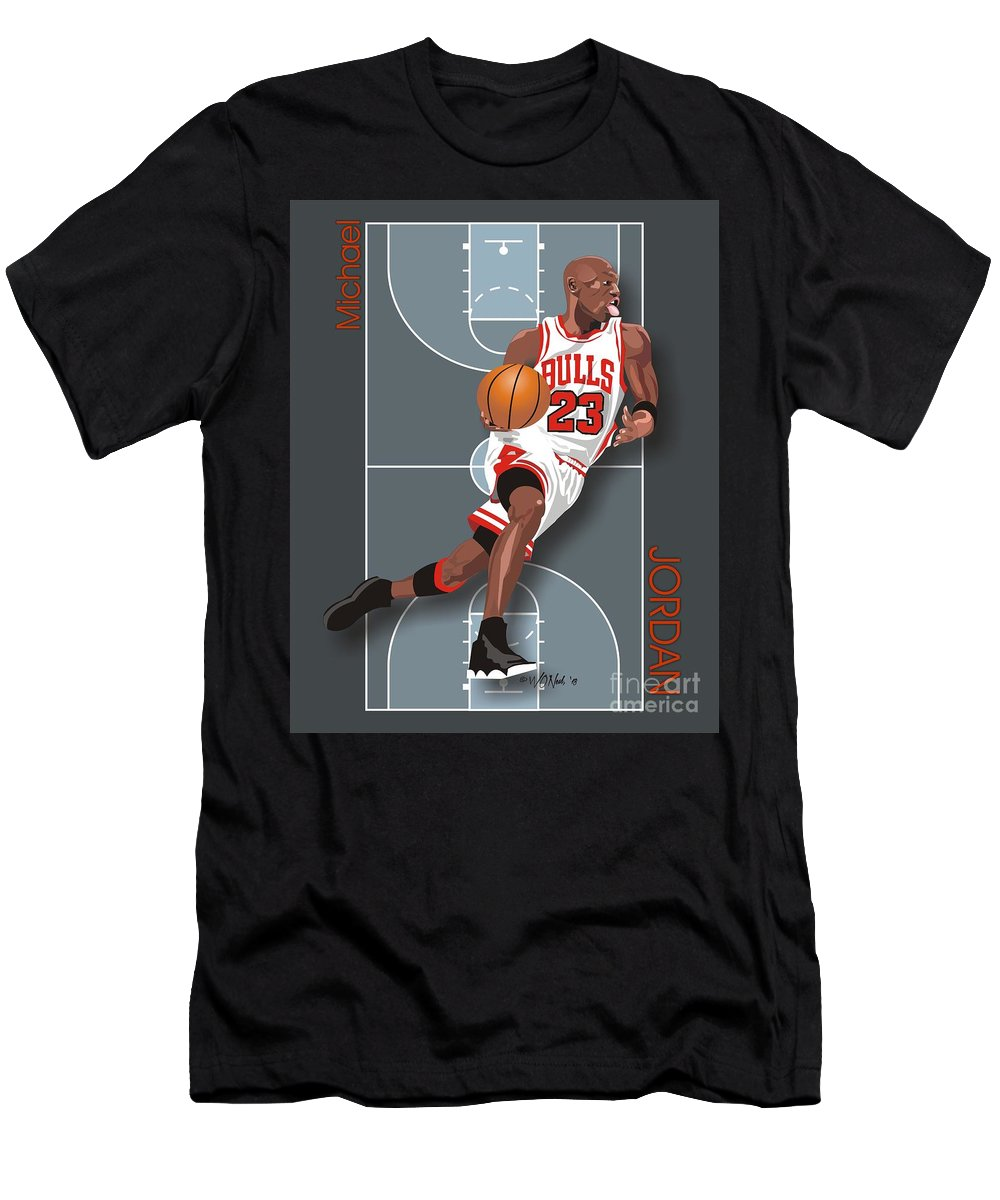 Portraits Men's T-Shirt (Athletic Fit) featuring the digital art Michael Jordan, No. 23 by Walter Oliver Neal