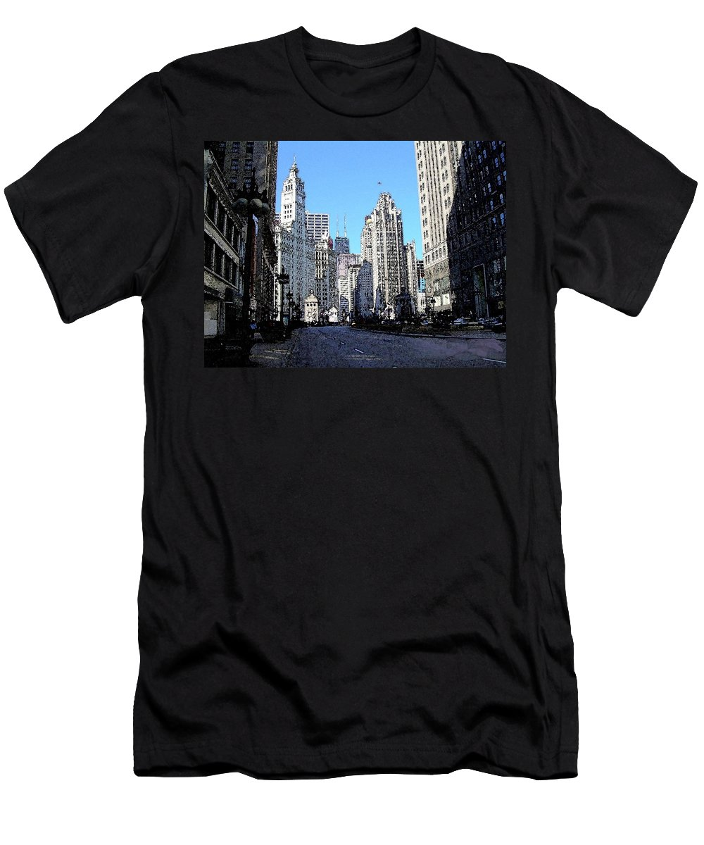 Chicago Men's T-Shirt (Athletic Fit) featuring the digital art Michigan Ave Wide by Anita Burgermeister