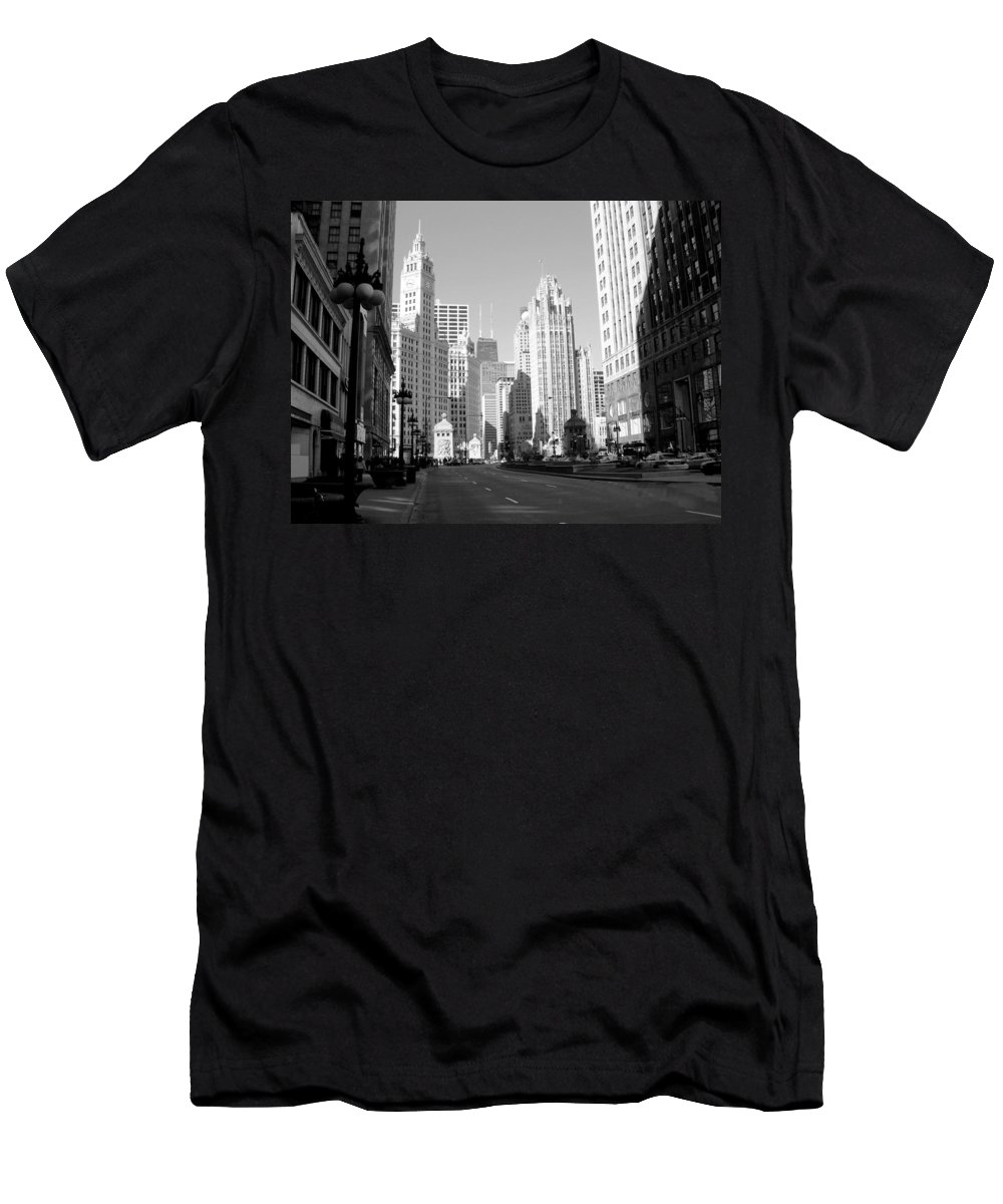 Chicago Men's T-Shirt (Athletic Fit) featuring the photograph Michigan Ave Wide B-w by Anita Burgermeister
